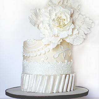 White Giant Peony, Ivory Cake