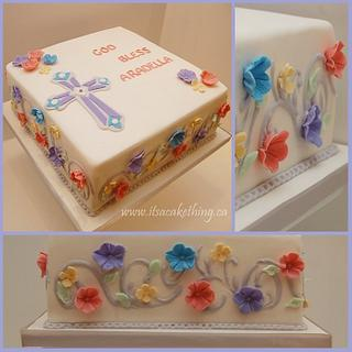 Flowers First Communion Cake