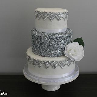 Silver Sequin Wedding Cake