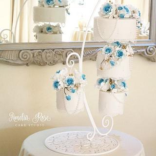 teal chandelier cake - Cake by Amelia Rose Cake Studio