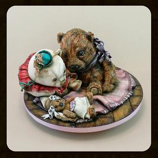 1st birthday trio off vintage loved teddies  - Cake by kaykes
