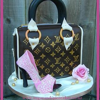 Louis Vuitton inspired Handbag cake with lace covered Sugar Shoe ~