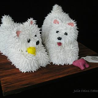 Two Little Westie Pups - Cake by Julie Cain
