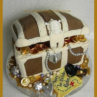 Pirate's Treasure Chest Cake - all edible except the glass diamond