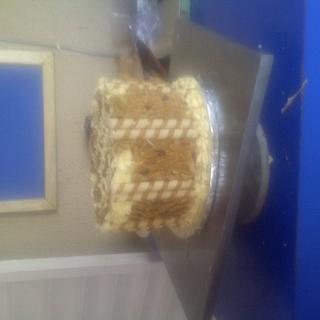 Desert cake with wafer sticks and fiber