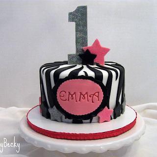 Bling Zebra Print First Birthday