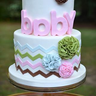 Pom Pom and Chevron Baby Shower Cake