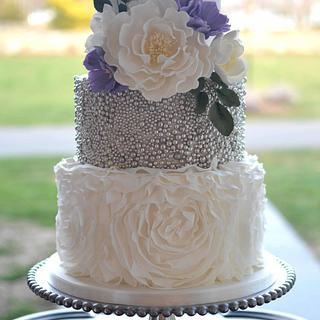 Ruffled and Beaded Wedding Cake