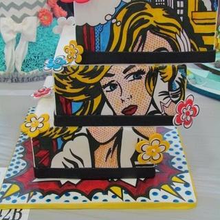 Roy Liechtenstein Pop themed cake