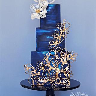 Blue & Gold Quilled Cake