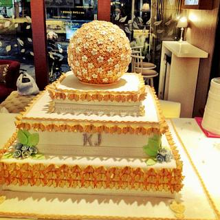 3 tiers wedding Cake with lots of butterlies