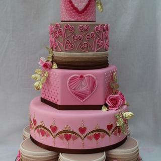 Gold Award Wedding Cake entry Cake International - Hearts