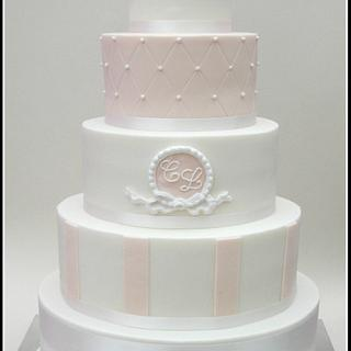 White and Blush Wedding Cake