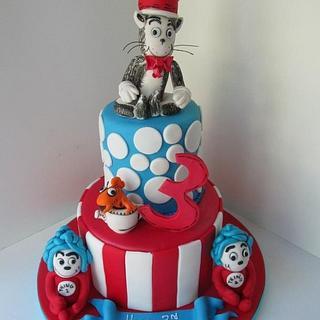 Happy birthday Dr. Seuss, Cat in the hat 3rd birthday cake