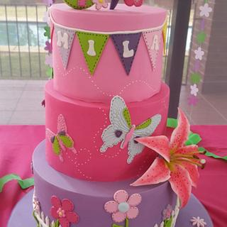 A garden and butterfly cake