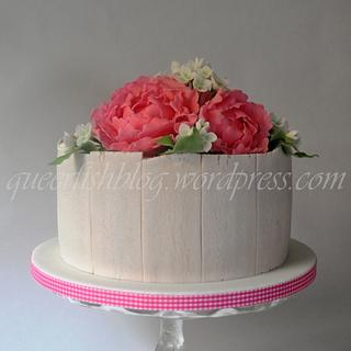 Wedding Cake - Pink Peonies