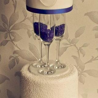 Blue Champagne Glasses Wedding Cake