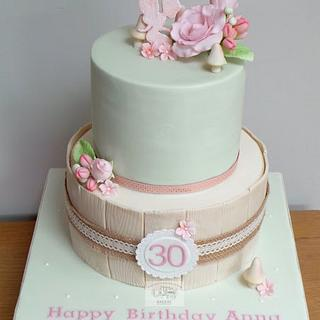"""Fairy and Flowers"" 30th Birthday cake"