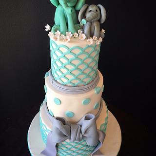Teal and gray shower