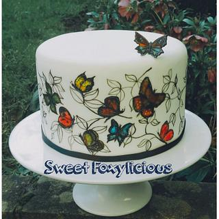 Butterfly Hand Painted Cake
