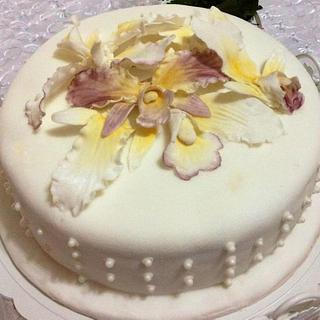 Orchid Engagement Cake