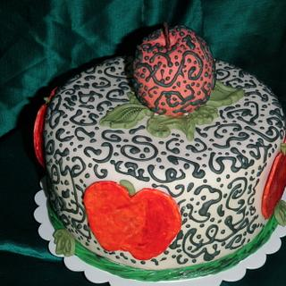 Apple Cake with Royal Icing Piping