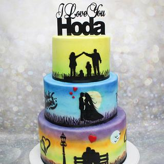 colorful airbrushed cake