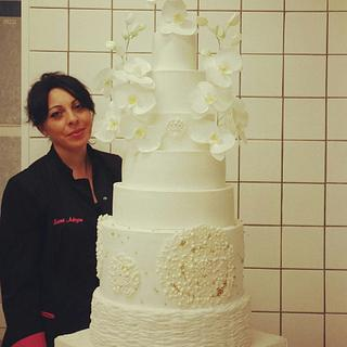 Wedding cake with wafer paper Orchids