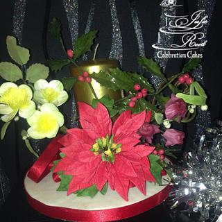CPC Christmas Collaboration - Poinsettia arrangement  - Cake by Julie Reed Cakes