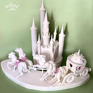 Castle and carriage, fondant cake decorations
