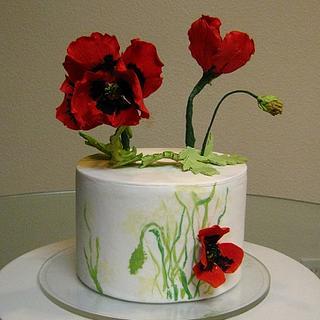 Gumpaste Poppy Cake