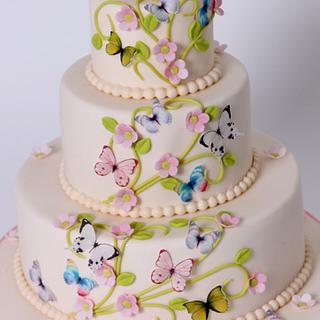 Baptism cake with butterfly - Cake by Viorica Dinu