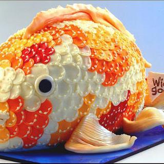 Koi Fish Cake - Cake by Wicked Goodies
