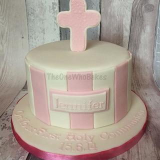 Pink & White First Holy Communion Cake - Cake by The One Who Bakes