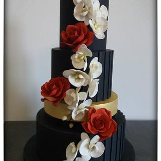 Orchids and Roses Wedding Cake