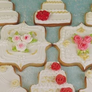 Wedding cake cookies with royal icing roses