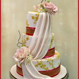 Blush & gold Indian wedding cake