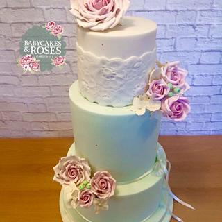 3 Tier Mint & Ivory Lace & Rose Wedding Cake