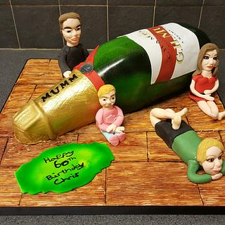 First airbrushed champagne bottle cake