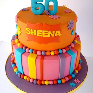 Bright colour 50th birthday cake - Cake by Liana @ Star Bakery