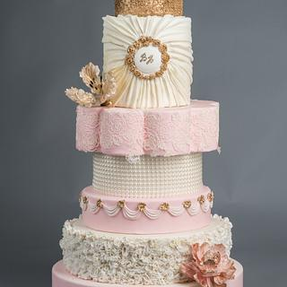 Blush, cream and gold sparkle wedding cake