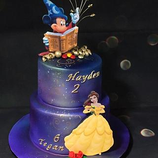 Princess Belle and Mickey Mouse  - Cake by Five Starr Cakes & Toppers