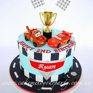 Disney Car's Cake for Twin Boys (race track version)