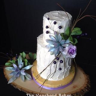 Rustic Buttercream with Succulents and Berries wedding cake.