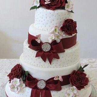 Burgundy ribbons and roses