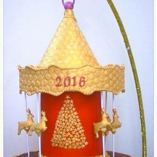 Christmas carousel  2016 gravity defying cake  - Cake by Ancy