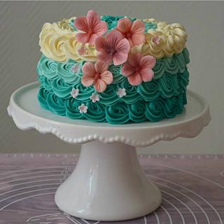 Ombre cake with pink accents - Cake by Yvonnes Custom Cakes
