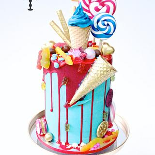 Candy loaded drip cake