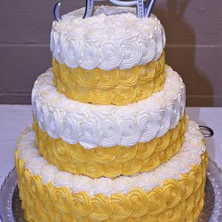 Yellow & white rosette wedding cake & sheet cake