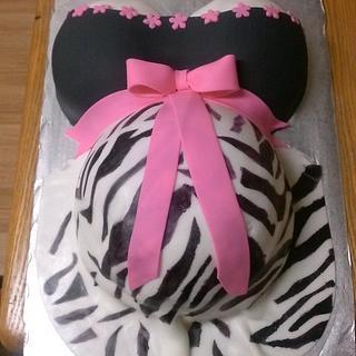 Pink & Zebra Baby Bump - Cake by Sharon Cooper